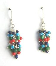 925 Sterling Silver Turquoise Coral Multi Beads Cluster Dropper Dangle EARRINGS