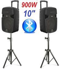 "COPPIA CASSE AMPLIFICATE ATTIVE 900W 10"" BLUETOOTH karaoke + 2 STATIVI TREPPIEDI"