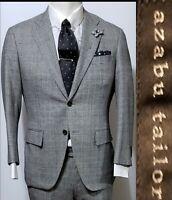Bespoke Azabu Tailor Windowpane Glen Check 2Btn Wool 38S /048B 2pcs Gray Suit