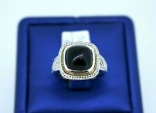 Greg Anthony 18k Yellow Gold & 925 Sterling Silver Onyx Ring, Size 6.25, 7.2gm