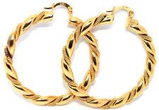 PAIR 18CT YELLOW GOLD FILLED TWIST CREOLE EAR HOOP EARRINGS UK POST