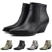 Sz 34-48 Womens Punk Ankle Boots Pointed Toe Snakeskin Chunky Heel Chelsea Shoes