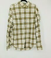 EDDIE BAUER Mens Shirt XL Tall White Plaid Button Down Long Sleeve Relaxed Fit