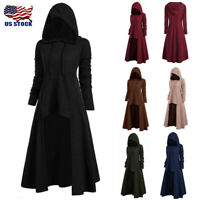 Plus Size Womens Fashion Hooded Vintage Cloak High Low Sweater Blouse Tops USA