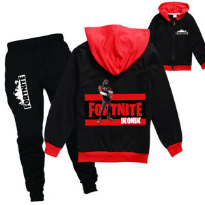 Boys Girls Fortnite Tracksuit Zip Hooded Top Outfit Sports Set Tops+Pants
