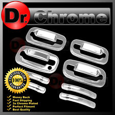02-06 Chevy Avalanche Triple Chrome 4 Door Handle+w/o PSG Keyhole Cover Kit Set