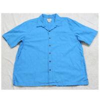 XL L.L. Bean Blue Cotton Pocket Man's Dress Shirt Short Sleeve Men's X-Large Top