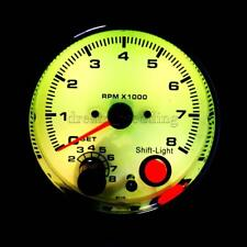 3,75 Zoll 95mm Weiß Gesicht Auto Tachometer Tacho Gauge w / Shift Licht 0