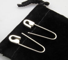 Sterling Silver safety pin earrings (Pair) 1'' long Handmade in USA