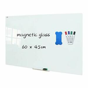 Glass Dry Erase Board, 60 x 45cm, Wall Mounted Tempered Glass Whiteboard,