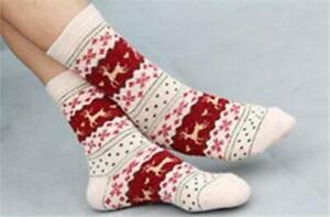 Womens Deer or Reindeer Socks, Christmas, Cotton/Wool Blend, Warm, Soft