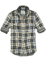 $78 Mens CALI HOLI Long Sleeve Cotton Check Plaid Shirt Beige 9900133