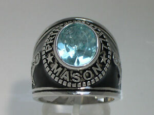 Prince Hall Mason Masonic March Aqua Marine Stone Rhodium Men's Ring Size 12