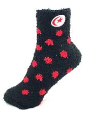 Red & Black Polka Dot Fuzzy Socks with White and Red Crescent Moon and Star Logo