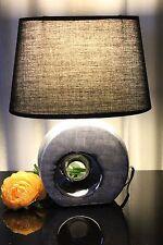 Lampe schwarz silber Nachttischlampe Tischlampe Leuchte Keramik Tischleuchte