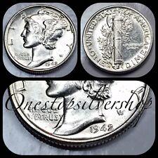 AU 1942-S Mercury Dime - San Francisco Mint - US 90% Silver Coin