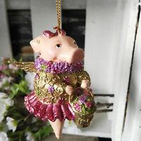 Ausgefallene Schweinfigur Schwein Flügel Gold Hängen Glitzer Figur Dekoration