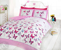 Girls Pretty Butterfly Duvet Cover with Pillowcase Quilt Cover Bedding Bed Set