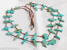 VTG Zuni Turquoise Fetish Heishi Sterling Silver cones two strand Necklace