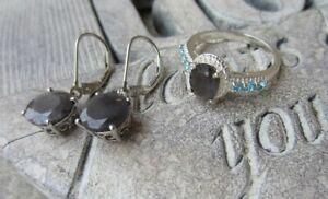 Signed STS Sterling Silver Gray Gemstone RING SZ 7 & Pierced Earrings SET