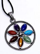 7 Chakra Flower Pendant Necklace Real Gemstones Crystal Reiki Genuine Uk Seller