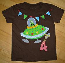 UNIKAT Süßes Geburtstagsshirt-Shirt mit Applikation *UFO*, braun, Gr.110/116