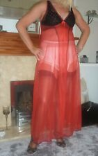 A STUNNINGLY SHEER RED 1960s VINTAGE NIGHTDRESS