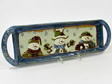 "St. Nicholas Square FOREST FRIENDS 15"" Treat Tray Platter Snowman Blue Brown NWT"