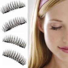3D Double Magnetic False Eyelashes Natural Eye Lashes Extension Handmade 4 Pcs