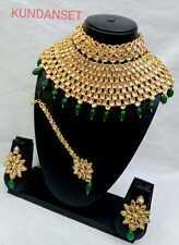 Bollywood Indian Green Kundan Pearl Cz Ethic Choker Necklace Bridal jewelry Set