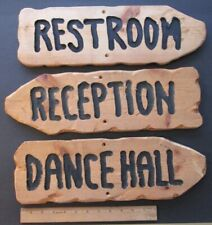"""3 RUSTIC HAND CARVED WOODEN WEDDING SIGNS ~ """"Reception"""" """"Dance Hall"""" """"Restroom"""""""