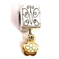 Authentic Brighton Mariposa Cube Spacer, J91262 Silver, Brushed Gold Finish, New