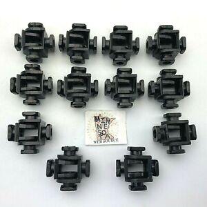 12 Vtg Construx Black 4-Peg Nut Swivel Connector Lot - Building Toy Parts