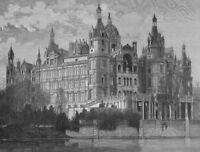Germany Medieval SCHWERIN CASTLE PALACE Mecklenburg ~ 1878 Art Print Engraving