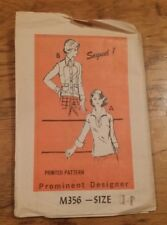 VINTAGE PROMINENT DESIGNER LADIES BLOUSE PATTERN 356 SIZE 14 FREE SHIPPING