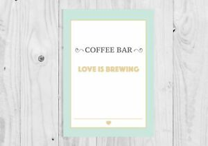 A4 A3 Mint Green Coffee Bar Sign, Birthday Party, Wedding, Baby Shower Sign