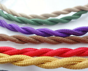 12 COLOR ANTIQUE BRAIDED WIRE WOVEN FABRIC LAMP CABLE CORD LIGHT ELECTRIC FLEX
