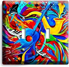COLORFUL GUITAR SAXOFONE JAZ MUSIC ABSTRACT DOUBLE LIGHT SWITCH WALL PLATE COVER