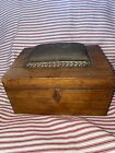 Antique Early Wooden Chest Sewing Accessory Box