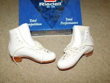 NEW OLD STOCK RIEDELL F375 FIGURE SKATES SZ 7.5 US WHITE BOOT ONLY