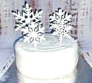 ❄️Christmas Snowflake Cake Toppers x 4 - ❄️White Sparkle Frozen Plastic ❄️