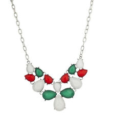 Lux Accessories Festive Holiday White Green Christmas Xmas Statement Necklace