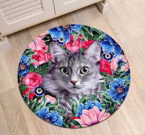 Home Area Rugs Cute Cat & Flowers Round Kids Yoga Carpet Room Floor Beach Mat