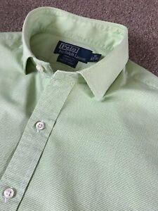 POLO RALPH LAUREN SLIM FIT ESTATE DRESS SHIRT GREEN MICRO GINGHAM BUTTON CUFF 16