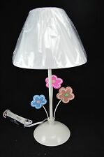 "White Blue Pink Floral Daisy Flower Lamp W/ Shade 14""H"