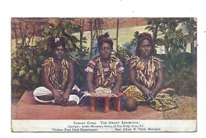 Vintage postcard Samoan Girls. The Orient Exhibition. pmk Portslade 1911