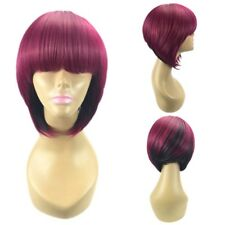 Ombre Wine Red/Black Short Straight Wigs Synthetic Hair Bob Women Fashion Soft