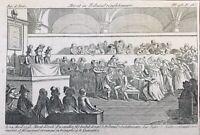 Marat au Tribunal Révolutionnaire 1793 Rare Gravure Révolution Française Paris