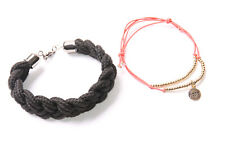 w Beads Two Great Bracelets (T459) Fantastic Ladies Wide Black&Skinny Rose Red
