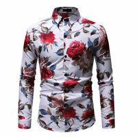 Luxury Mens Floral Flower Print Casual Shirts Slim Fit Hawaiian Dress Tops Shirt